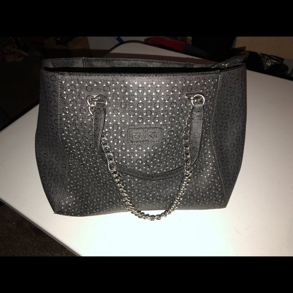 Guess Handbags - Guess Nikki Chain Large Black Faux Leather Tote fa92e4e64d43b